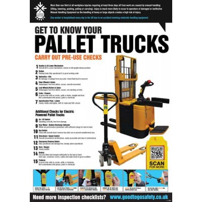 A2 Pallet Truck Inspection Checklist Poster
