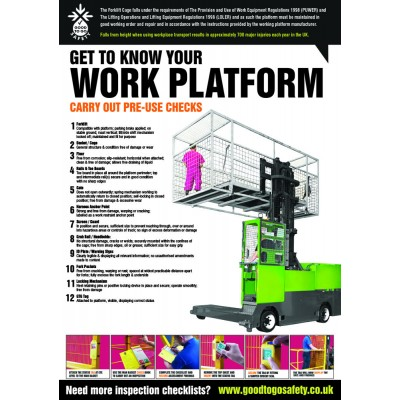A2 Forklift Work Platform Inspection Checklist Poster