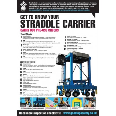 A2 Straddle Carrier Inspection Checklist Poster