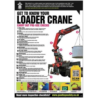 A2 Loader Crane Inspection Checklist Poster